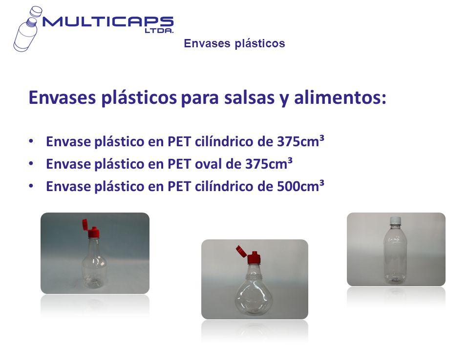 Envases plásticos Envases plásticos para salsas y alimentos: Envase plástico en PET cilíndrico de 375cm³ Envase plástico en PET oval de 375cm³ Envase