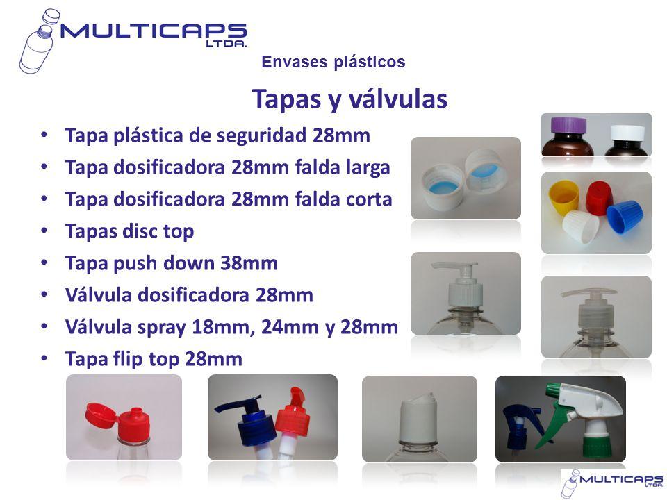 Envases plásticos Tapas y válvulas Tapa plástica de seguridad 28mm Tapa dosificadora 28mm falda larga Tapa dosificadora 28mm falda corta Tapas disc to