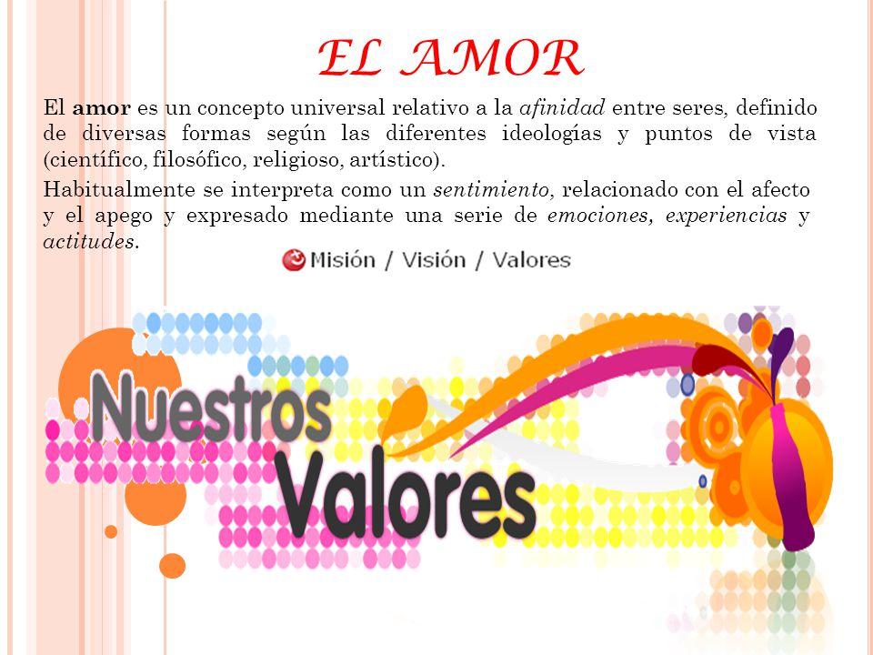 EL AMOR El amor es un concepto universal relativo a la afinidad entre seres, definido de diversas formas según las diferentes ideologías y puntos de v