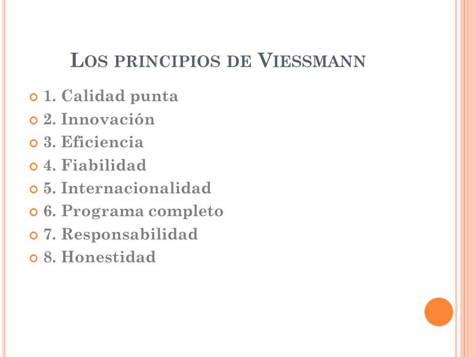 L OS PRINCIPIOS DE V IESSMANN 1. Calidad punta 2. Innovación 3. Eficiencia 4. Fiabilidad 5. Internacionalidad 6. Programa completo 7. Responsabilidad