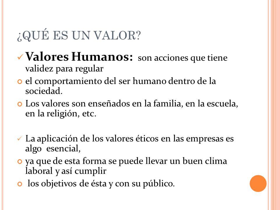 ¿QUÉ ES UN VALOR? Valores Humanos: son acciones que tiene validez para regular el comportamiento del ser humano dentro de la sociedad. Los valores son