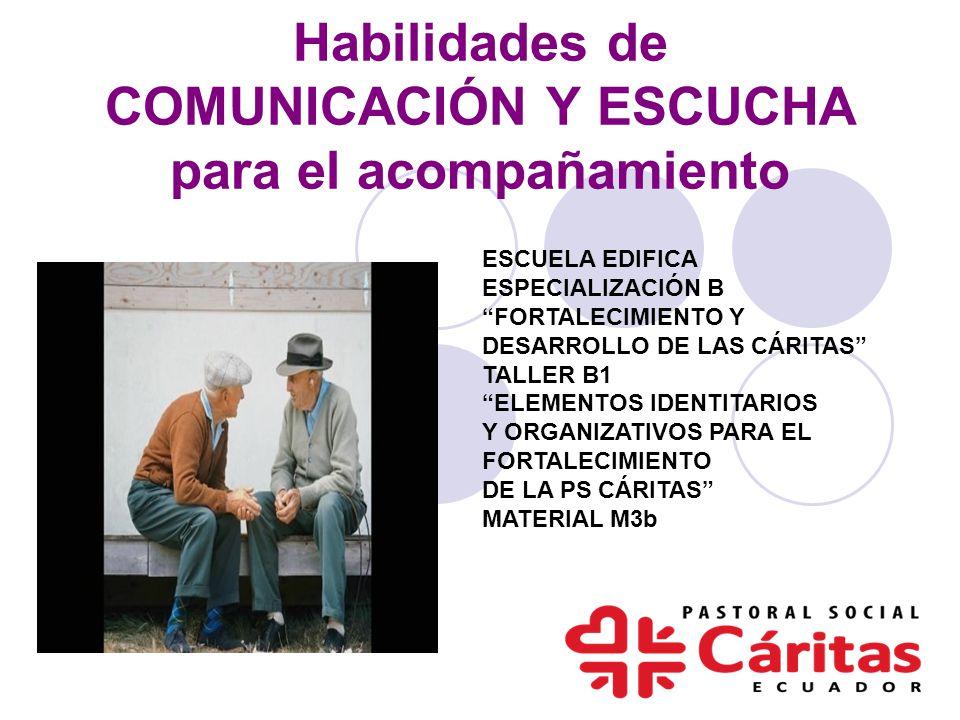 Habilidades de COMUNICACIÓN Y ESCUCHA para el acompañamiento ESCUELA EDIFICA ESPECIALIZACIÓN B FORTALECIMIENTO Y DESARROLLO DE LAS CÁRITAS TALLER B1 E