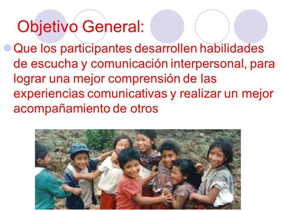 Objetivo General: Que los participantes desarrollen habilidades de escucha y comunicación interpersonal, para lograr una mejor comprensión de las expe