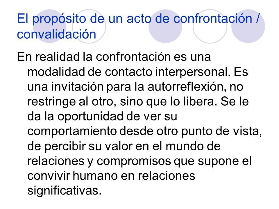 El propósito de un acto de confrontación / convalidación En realidad la confrontación es una modalidad de contacto interpersonal. Es una invitación pa