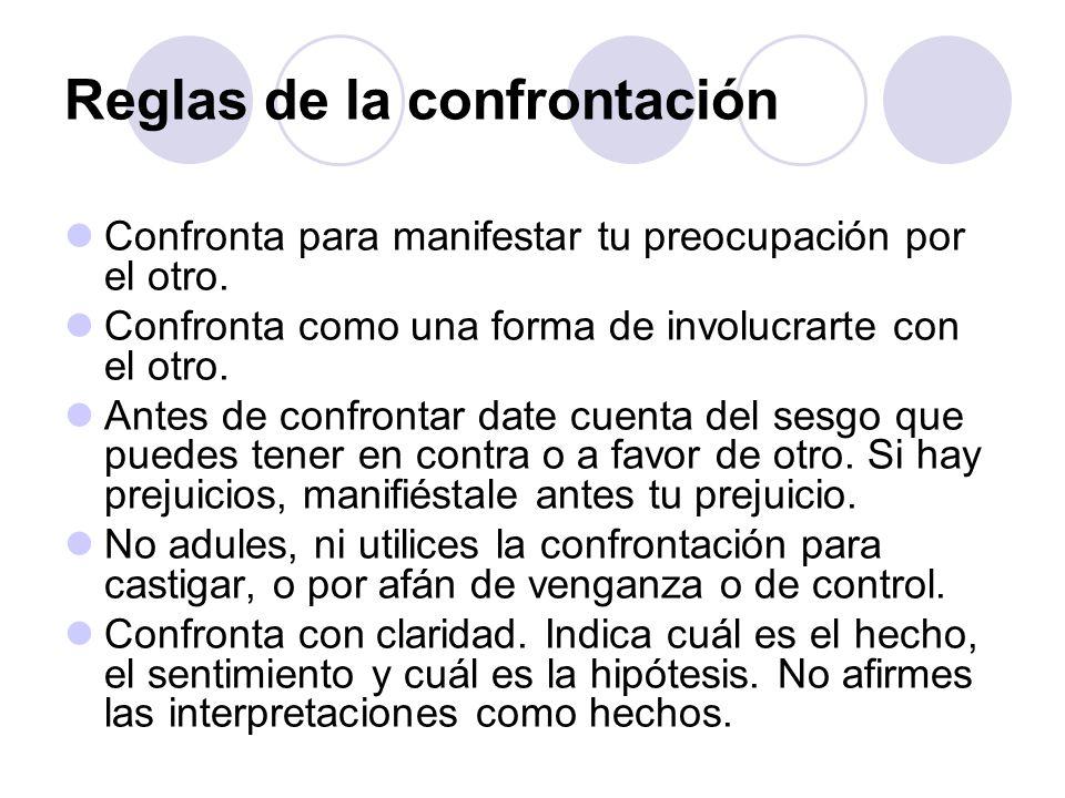 Reglas de la confrontación Confronta para manifestar tu preocupación por el otro. Confronta como una forma de involucrarte con el otro. Antes de confr