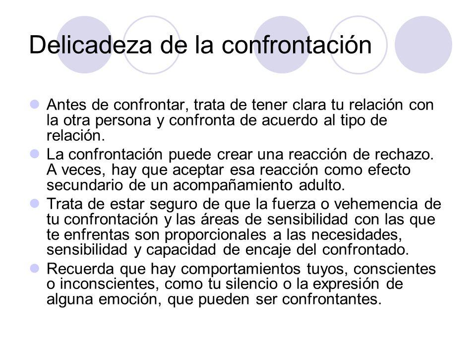 Delicadeza de la confrontación Antes de confrontar, trata de tener clara tu relación con la otra persona y confronta de acuerdo al tipo de relación. L