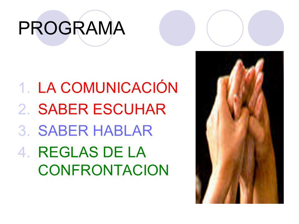 PROGRAMA 1.LA COMUNICACIÓN 2.SABER ESCUHAR 3.SABER HABLAR 4.REGLAS DE LA CONFRONTACION