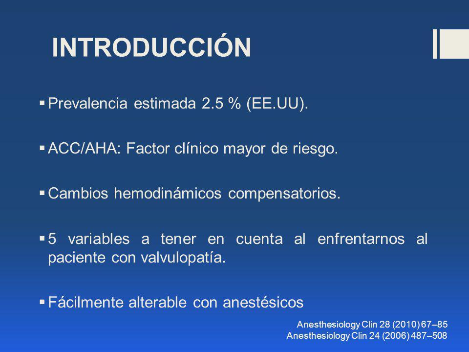 INTRODUCCIÓN Prevalencia estimada 2.5 % (EE.UU). ACC/AHA: Factor clínico mayor de riesgo. Cambios hemodinámicos compensatorios. 5 variables a tener en