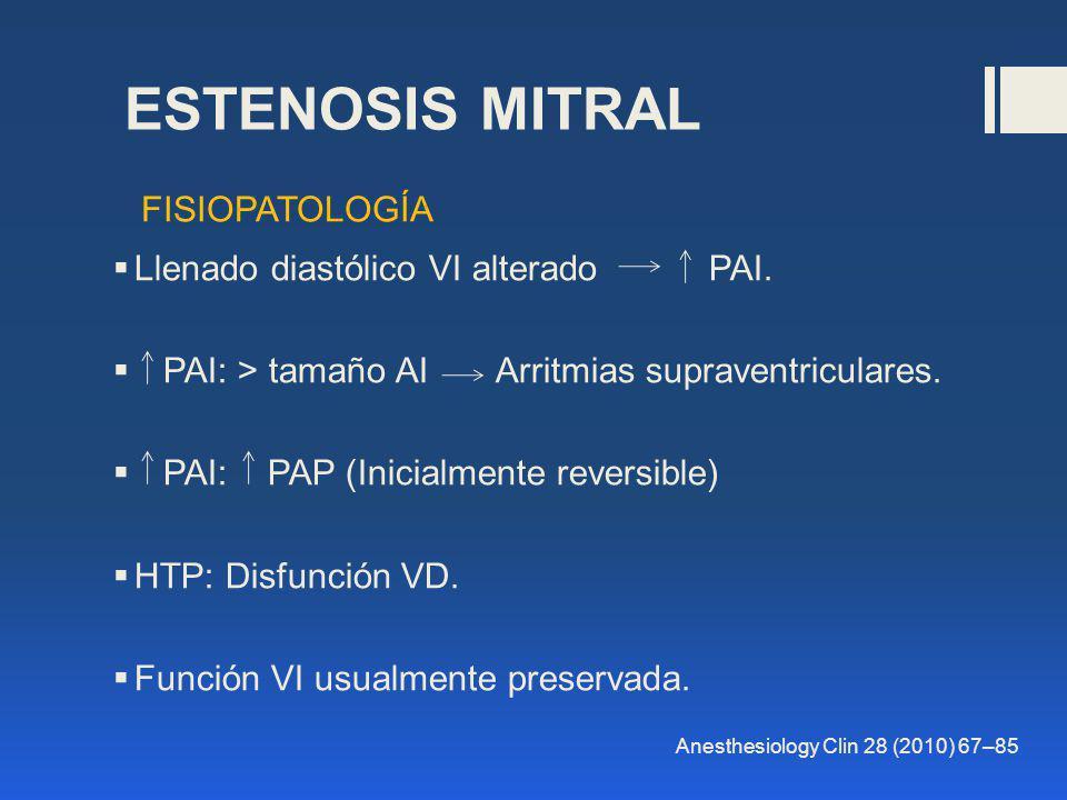 ESTENOSIS MITRAL Llenado diastólico VI alterado PAI. PAI: > tamaño AI Arritmias supraventriculares. PAI: PAP (Inicialmente reversible) HTP: Disfunción