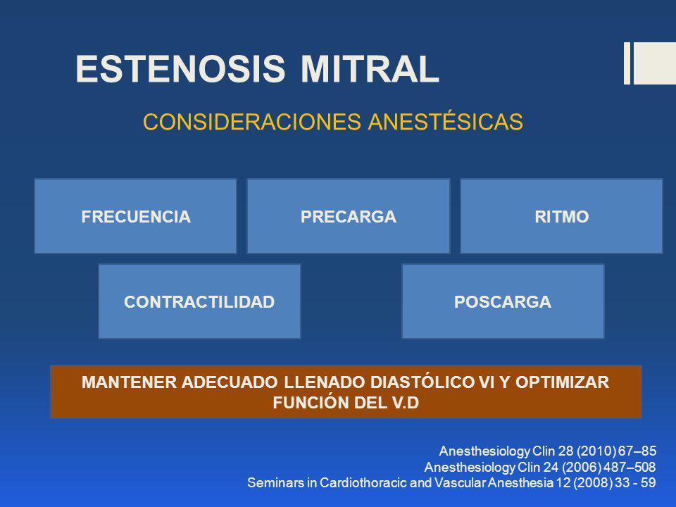 ESTENOSIS MITRAL CONSIDERACIONES ANESTÉSICAS CONTRACTILIDAD PRECARGA POSCARGA FRECUENCIARITMO Anesthesiology Clin 28 (2010) 67–85 Anesthesiology Clin