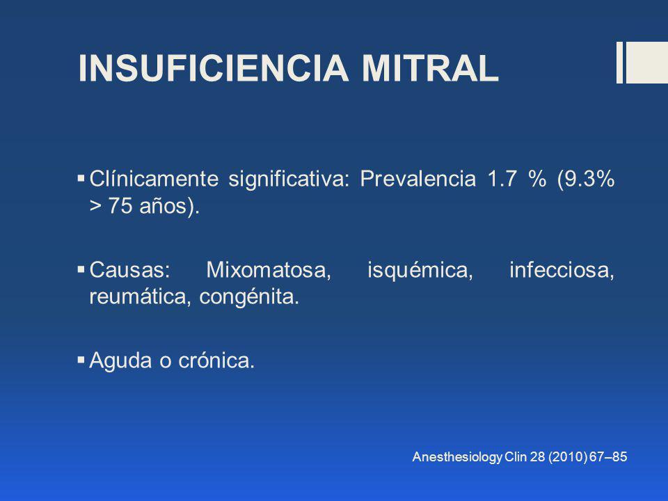 Clínicamente significativa: Prevalencia 1.7 % (9.3% > 75 años). Causas: Mixomatosa, isquémica, infecciosa, reumática, congénita. Aguda o crónica. Anes