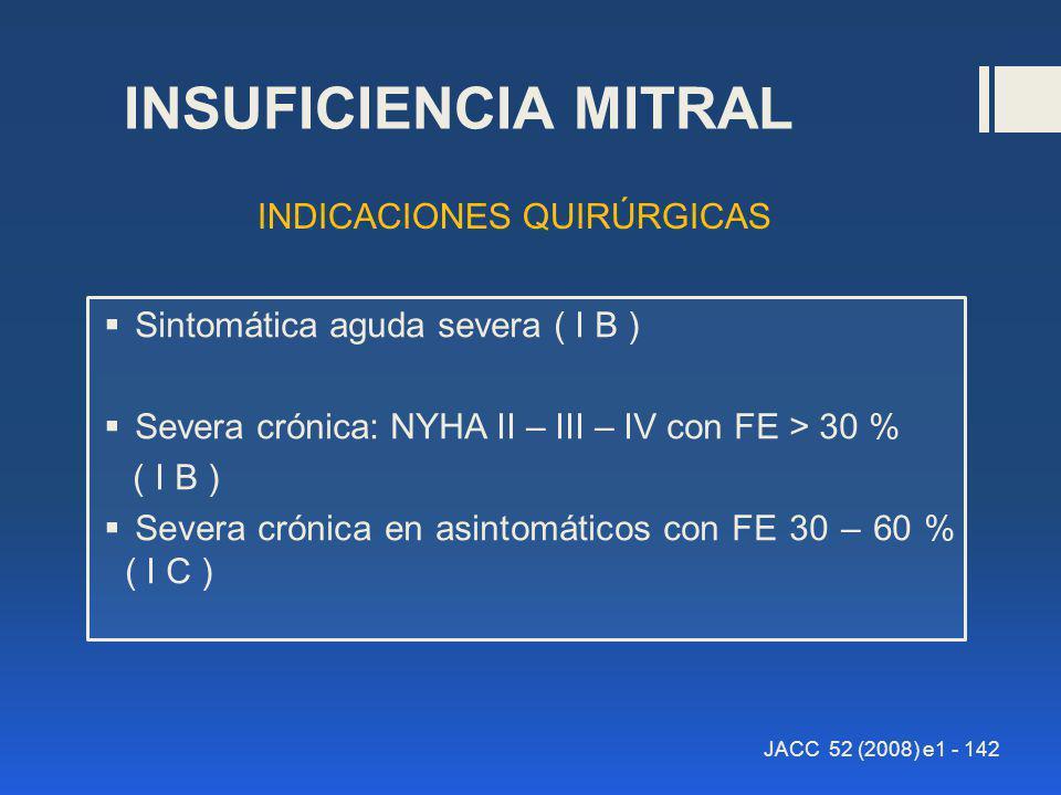 INSUFICIENCIA MITRAL Sintomática aguda severa ( I B ) Severa crónica: NYHA II – III – IV con FE > 30 % ( I B ) Severa crónica en asintomáticos con FE