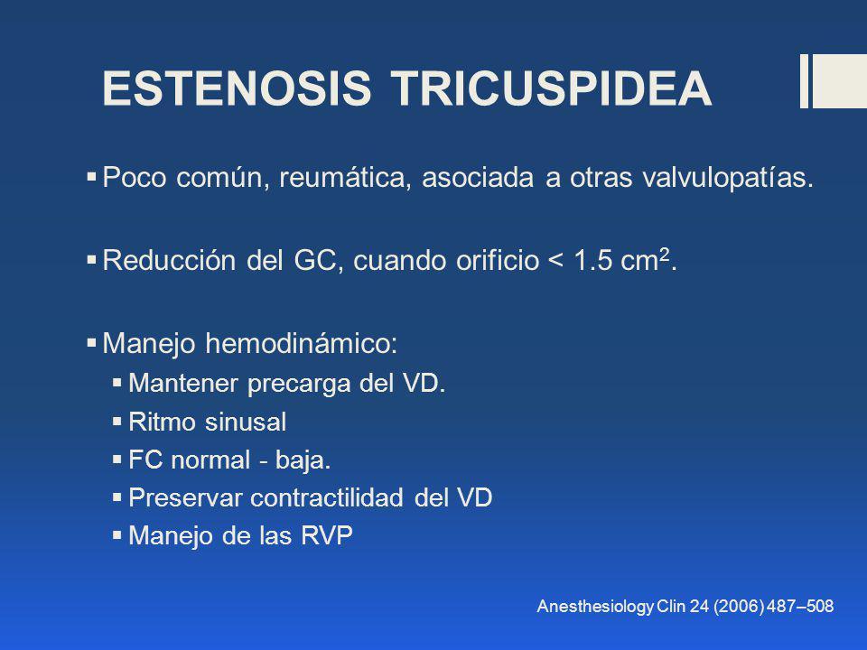ESTENOSIS TRICUSPIDEA Poco común, reumática, asociada a otras valvulopatías. Reducción del GC, cuando orificio < 1.5 cm 2. Manejo hemodinámico: Manten