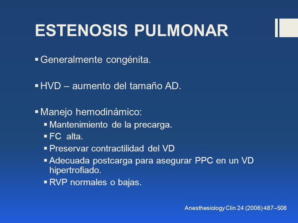 ESTENOSIS PULMONAR Generalmente congénita. HVD – aumento del tamaño AD. Manejo hemodinámico: Mantenimiento de la precarga. FC alta. Preservar contract