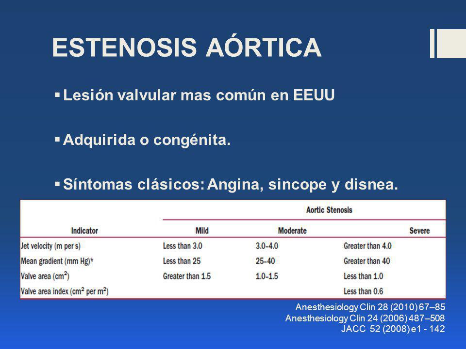 Lesión valvular mas común en EEUU Adquirida o congénita. Síntomas clásicos: Angina, sincope y disnea. Anesthesiology Clin 28 (2010) 67–85 Anesthesiolo