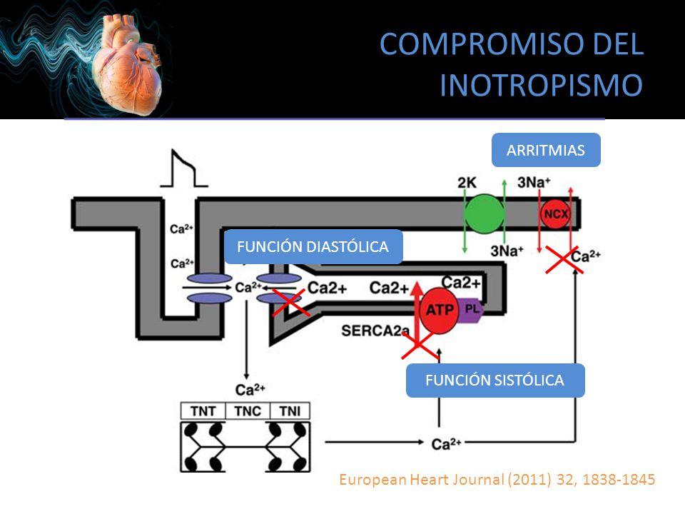 COMPROMISO DEL INOTROPISMO European Heart Journal (2011) 32, 1838-1845 FUNCIÓN DIASTÓLICA FUNCIÓN SISTÓLICA ARRITMIAS