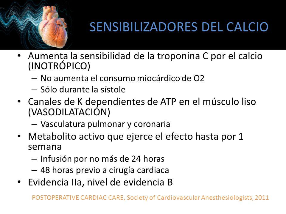 SENSIBILIZADORES DEL CALCIO Aumenta la sensibilidad de la troponina C por el calcio (INOTRÓPICO) – No aumenta el consumo miocárdico de O2 – Sólo duran
