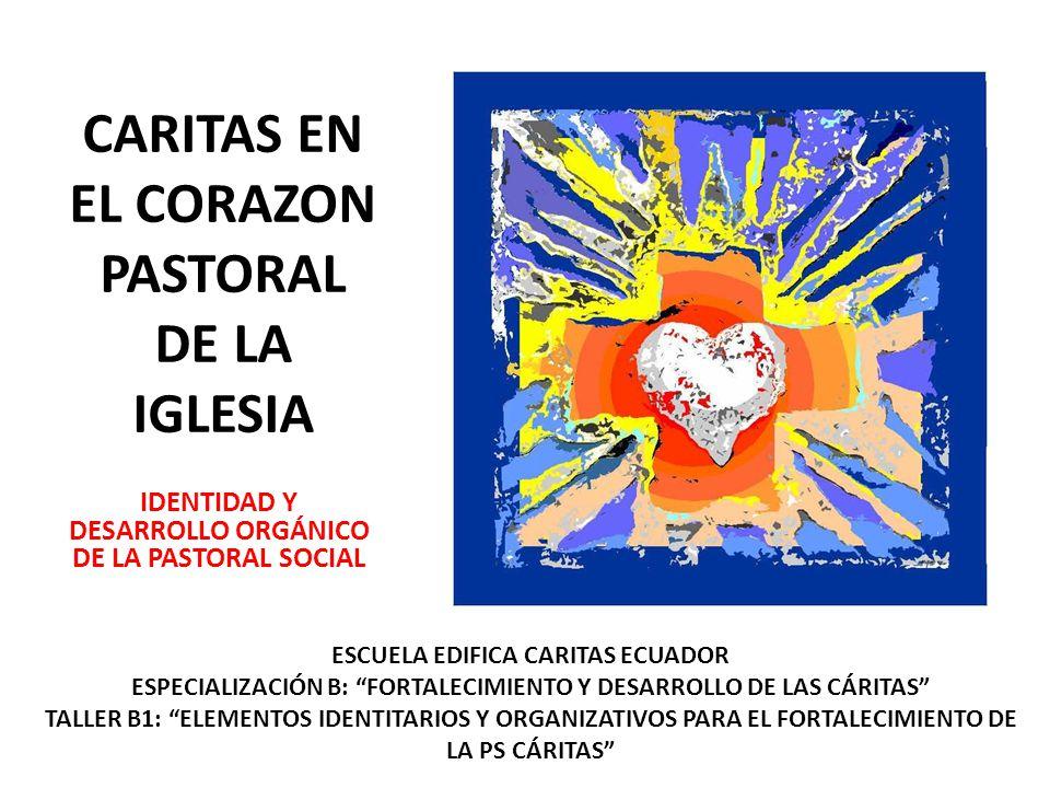 CARITAS EN EL CORAZON PASTORAL DE LA IGLESIA IDENTIDAD Y DESARROLLO ORGÁNICO DE LA PASTORAL SOCIAL ESCUELA EDIFICA CARITAS ECUADOR ESPECIALIZACIÓN B:
