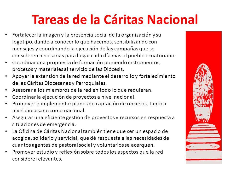 Tareas de la Cáritas Nacional Fortalecer la imagen y la presencia social de la organización y su logotipo, dando a conocer lo que hacemos, sensibiliza