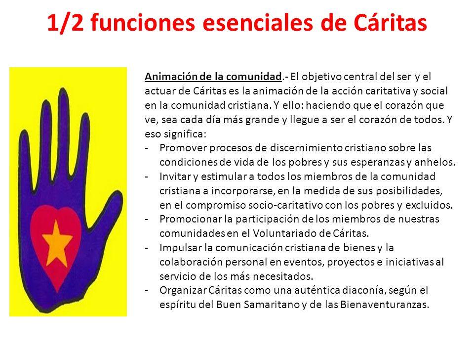 1/2 funciones esenciales de Cáritas Animación de la comunidad.- El objetivo central del ser y el actuar de Cáritas es la animación de la acción carita