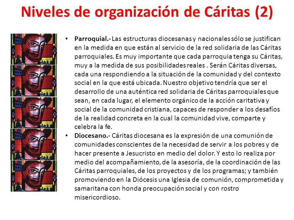 Niveles de organización de Cáritas (2) Parroquial.- Las estructuras diocesanas y nacionales sólo se justifican en la medida en que están al servicio d