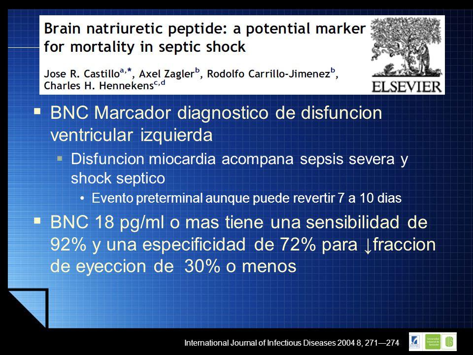 LOGO BNC Marcador diagnostico de disfuncion ventricular izquierda Disfuncion miocardia acompana sepsis severa y shock septico Evento preterminal aunqu
