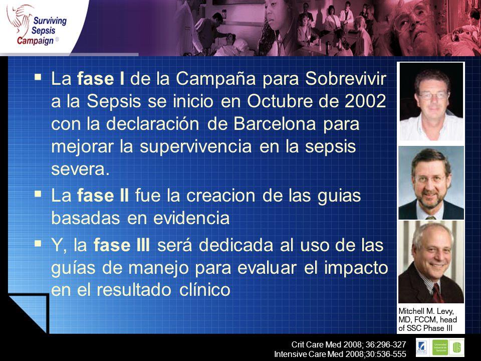 LOGO La fase I de la Campaña para Sobrevivir a la Sepsis se inicio en Octubre de 2002 con la declaración de Barcelona para mejorar la supervivencia en