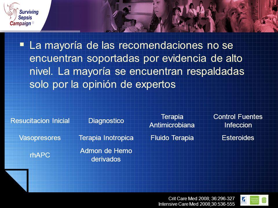 LOGO Crit Care Med 2008; 36:296-327 Intensive Care Med 2008;30:536-555 La mayoría de las recomendaciones no se encuentran soportadas por evidencia de