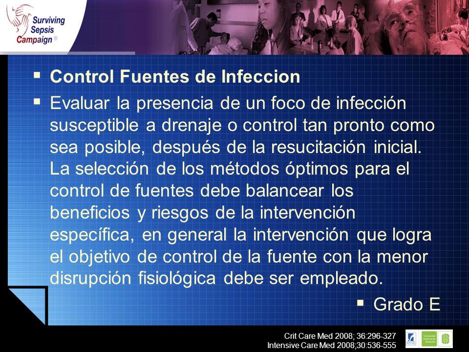 LOGO Crit Care Med 2008; 36:296-327 Intensive Care Med 2008;30:536-555 Control Fuentes de Infeccion Evaluar la presencia de un foco de infección susce