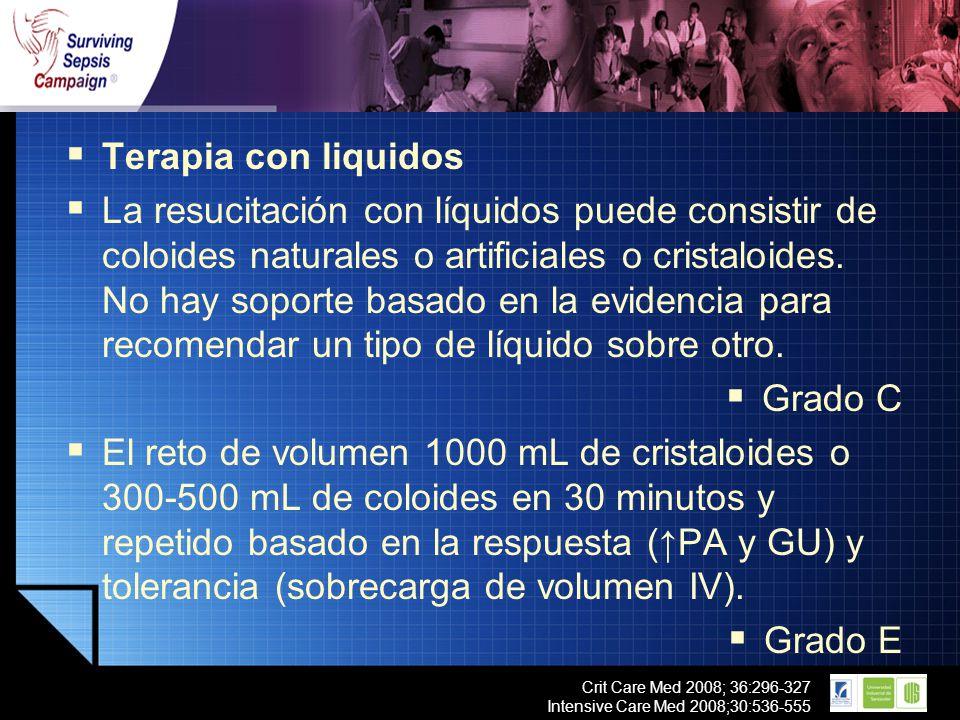 LOGO Crit Care Med 2008; 36:296-327 Intensive Care Med 2008;30:536-555 Terapia con liquidos La resucitación con líquidos puede consistir de coloides n