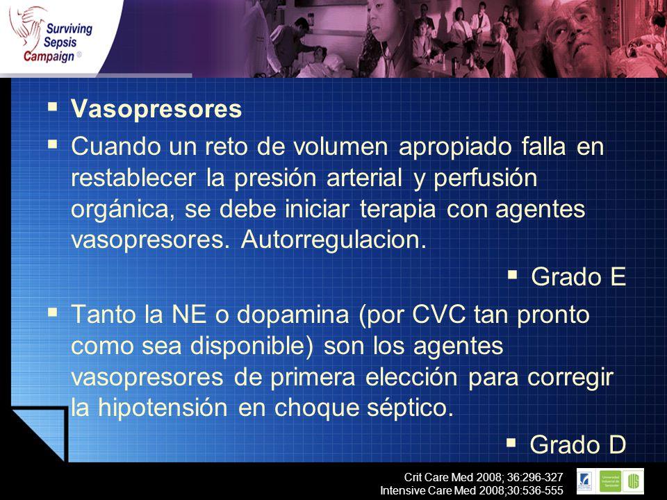 LOGO Crit Care Med 2008; 36:296-327 Intensive Care Med 2008;30:536-555 Vasopresores Cuando un reto de volumen apropiado falla en restablecer la presió