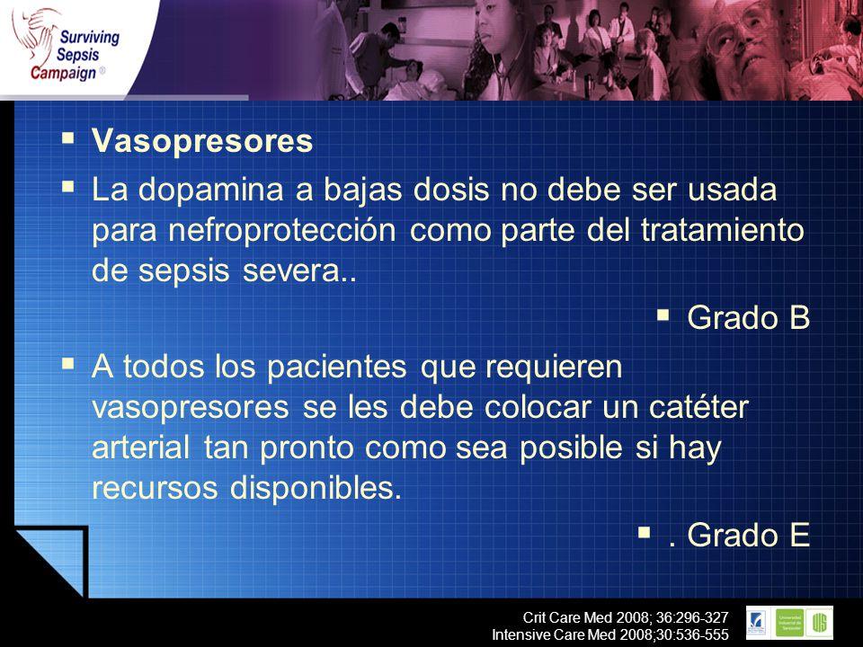 LOGO Crit Care Med 2008; 36:296-327 Intensive Care Med 2008;30:536-555 Vasopresores La dopamina a bajas dosis no debe ser usada para nefroprotección c