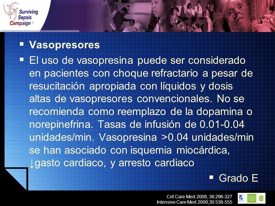 LOGO Crit Care Med 2008; 36:296-327 Intensive Care Med 2008;30:536-555 Vasopresores El uso de vasopresina puede ser considerado en pacientes con choqu