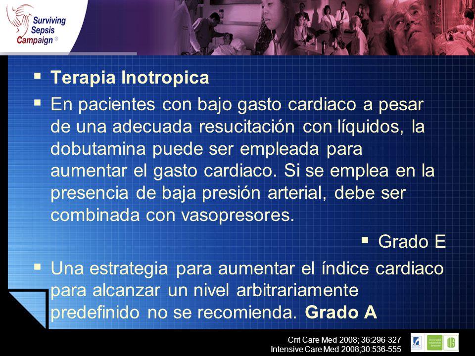 LOGO Crit Care Med 2008; 36:296-327 Intensive Care Med 2008;30:536-555 Terapia Inotropica En pacientes con bajo gasto cardiaco a pesar de una adecuada