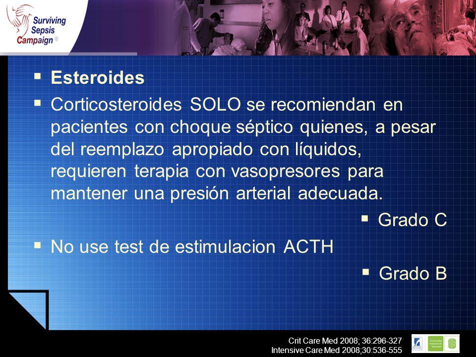 LOGO Crit Care Med 2008; 36:296-327 Intensive Care Med 2008;30:536-555 Esteroides Corticosteroides SOLO se recomiendan en pacientes con choque séptico