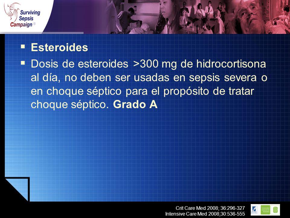 LOGO Crit Care Med 2008; 36:296-327 Intensive Care Med 2008;30:536-555 Esteroides Dosis de esteroides >300 mg de hidrocortisona al día, no deben ser u