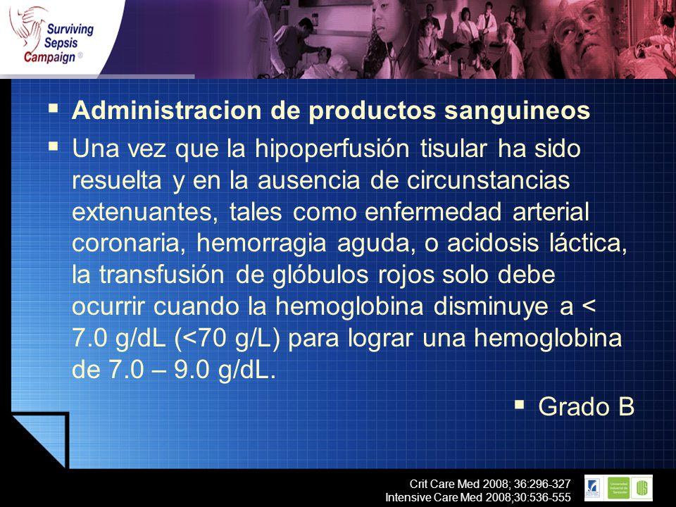 LOGO Crit Care Med 2008; 36:296-327 Intensive Care Med 2008;30:536-555 Administracion de productos sanguineos Una vez que la hipoperfusión tisular ha