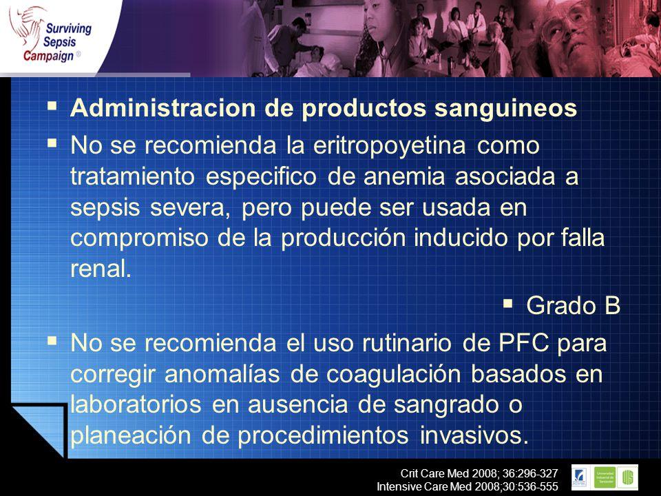 LOGO Crit Care Med 2008; 36:296-327 Intensive Care Med 2008;30:536-555 Administracion de productos sanguineos No se recomienda la eritropoyetina como
