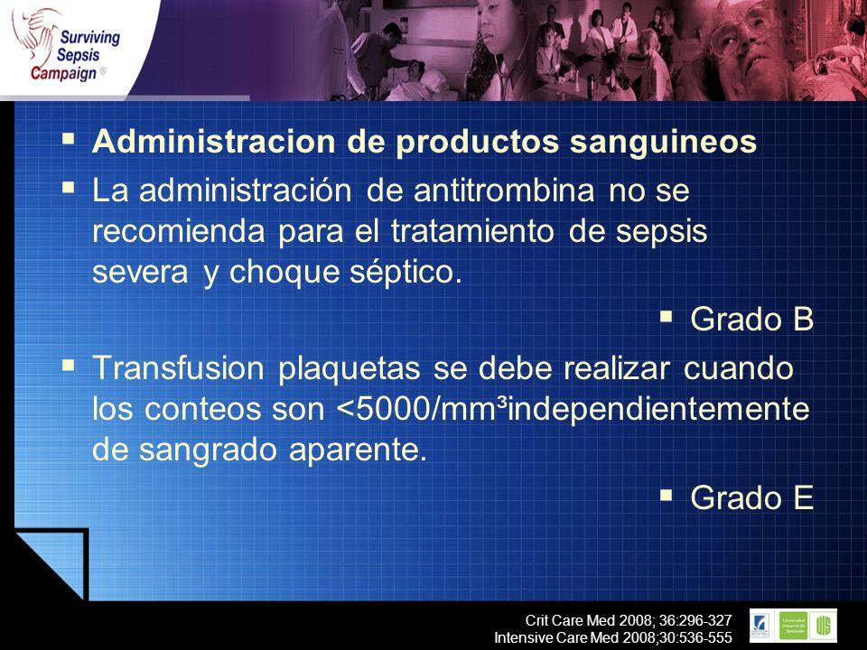 LOGO Crit Care Med 2008; 36:296-327 Intensive Care Med 2008;30:536-555 Administracion de productos sanguineos La administración de antitrombina no se