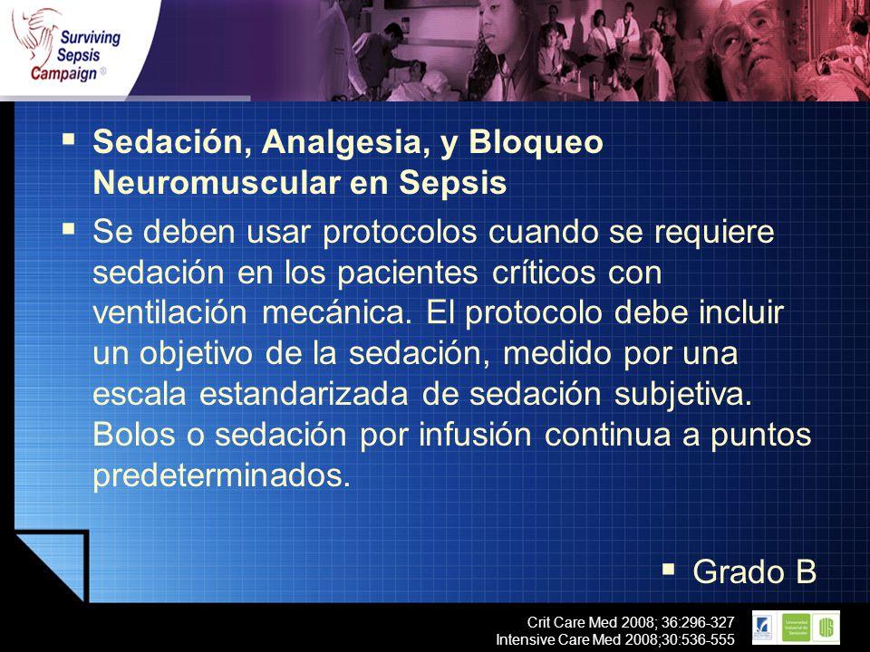 LOGO Crit Care Med 2008; 36:296-327 Intensive Care Med 2008;30:536-555 Sedación, Analgesia, y Bloqueo Neuromuscular en Sepsis Se deben usar protocolos