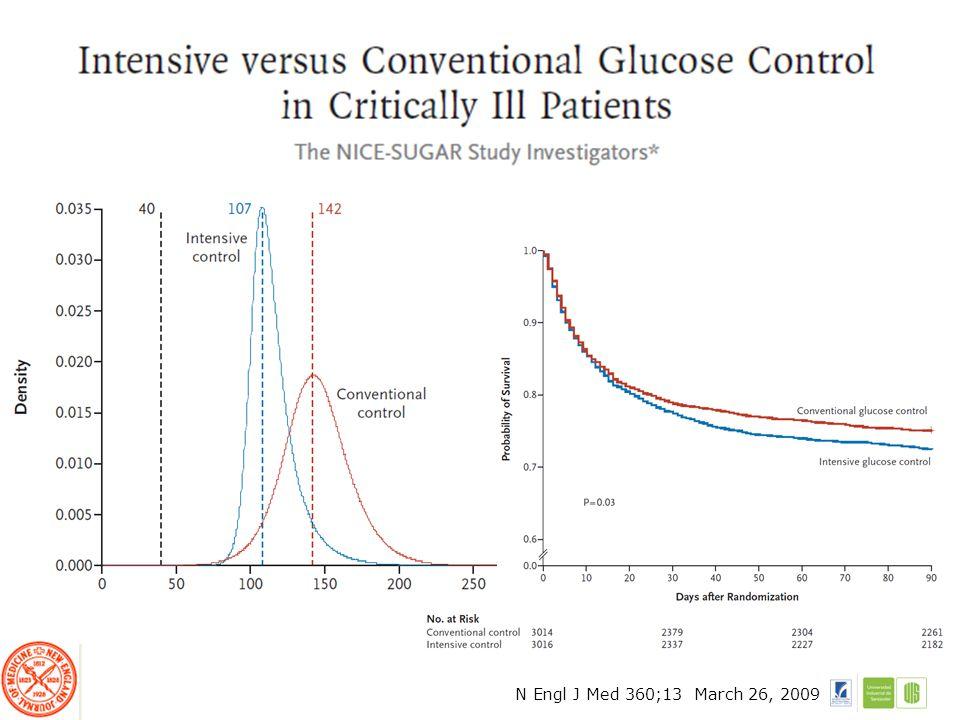6104 pacientes –3054 Control intensivo CI –3050 Control convencional CC Hipoglicemia severa (<40mg/dl) se reporto en 206 pacientes (6.8%) en el grupo