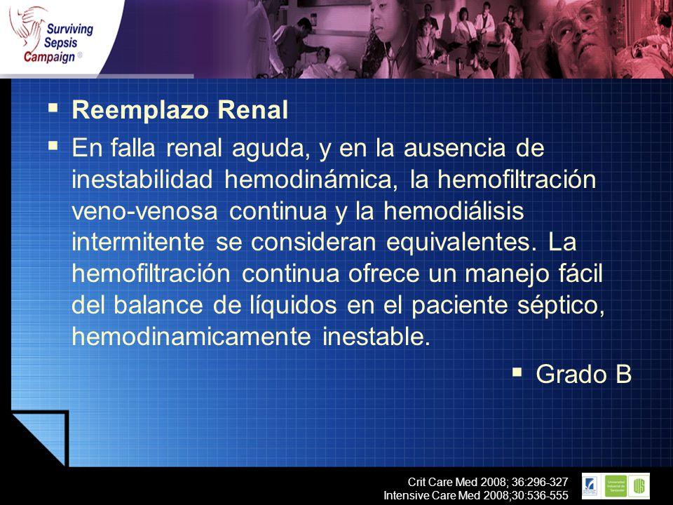LOGO Crit Care Med 2008; 36:296-327 Intensive Care Med 2008;30:536-555 Reemplazo Renal En falla renal aguda, y en la ausencia de inestabilidad hemodin