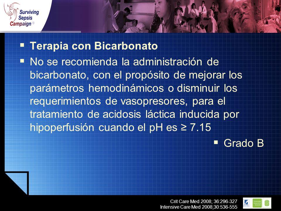 LOGO Crit Care Med 2008; 36:296-327 Intensive Care Med 2008;30:536-555 Terapia con Bicarbonato No se recomienda la administración de bicarbonato, con