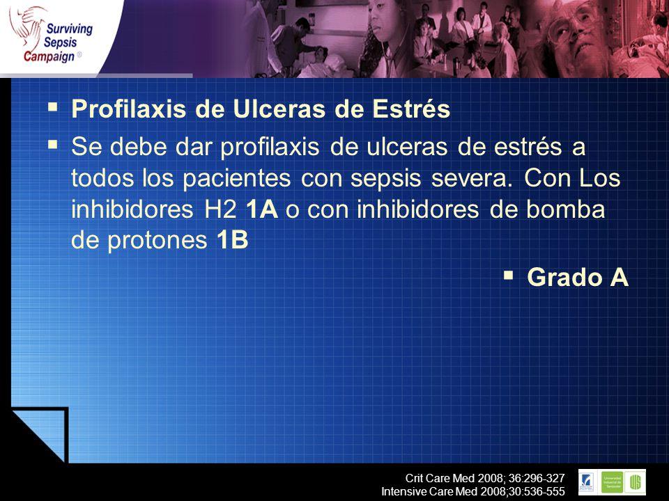 LOGO Crit Care Med 2008; 36:296-327 Intensive Care Med 2008;30:536-555 Profilaxis de Ulceras de Estrés Se debe dar profilaxis de ulceras de estrés a t