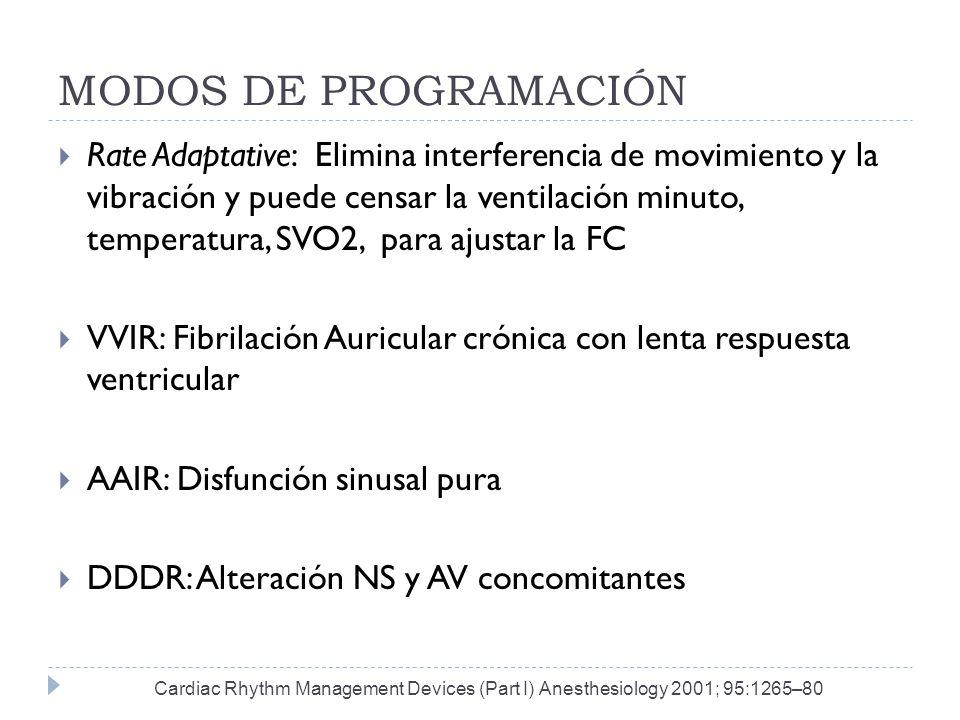 MODOS DE PROGRAMACIÓN Rate Adaptative: Elimina interferencia de movimiento y la vibración y puede censar la ventilación minuto, temperatura, SVO2, par