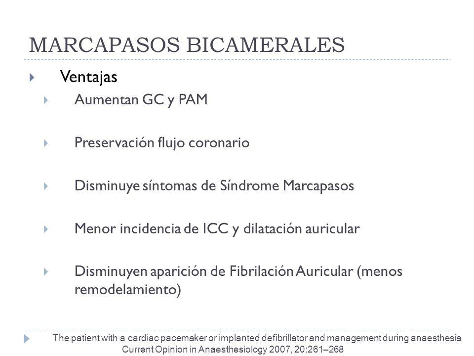 MARCAPASOS BICAMERALES Ventajas Aumentan GC y PAM Preservación flujo coronario Disminuye síntomas de Síndrome Marcapasos Menor incidencia de ICC y dil