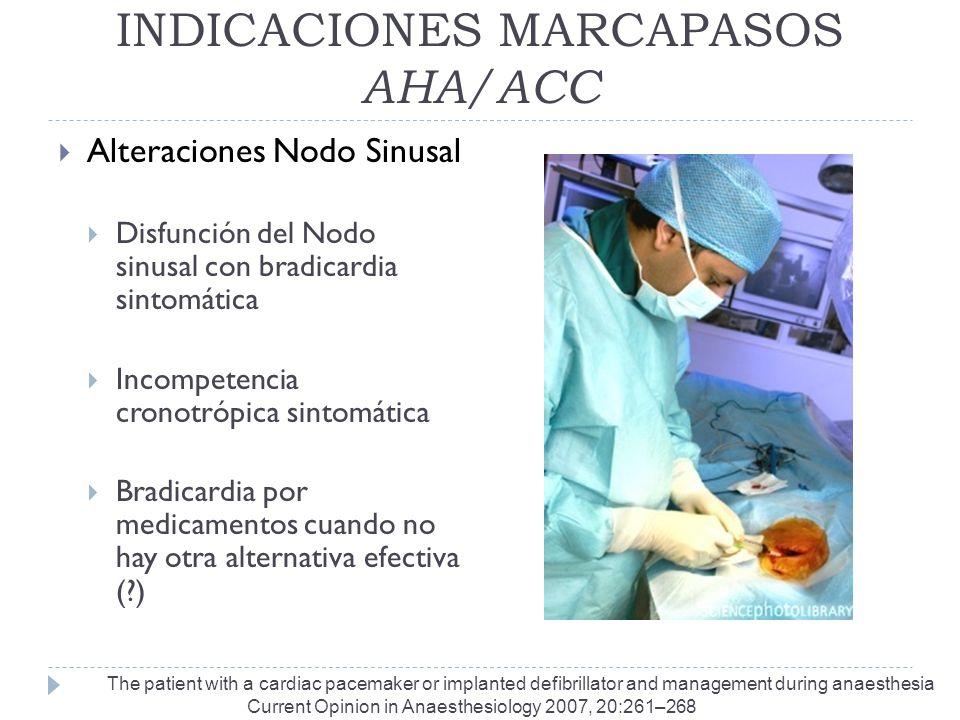 INDICACIONES MARCAPASOS AHA/ACC Alteraciones Nodo Sinusal Disfunción del Nodo sinusal con bradicardia sintomática Incompetencia cronotrópica sintomáti