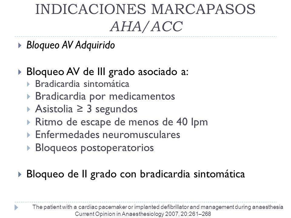 INDICACIONES MARCAPASOS AHA/ACC Bloqueo AV Adquirido Bloqueo AV de III grado asociado a: Bradicardia sintomática Bradicardia por medicamentos Asistoli
