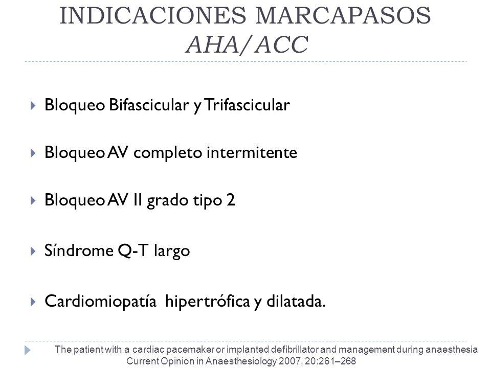 INDICACIONES MARCAPASOS AHA/ACC Bloqueo Bifascicular y Trifascicular Bloqueo AV completo intermitente Bloqueo AV II grado tipo 2 Síndrome Q-T largo Ca