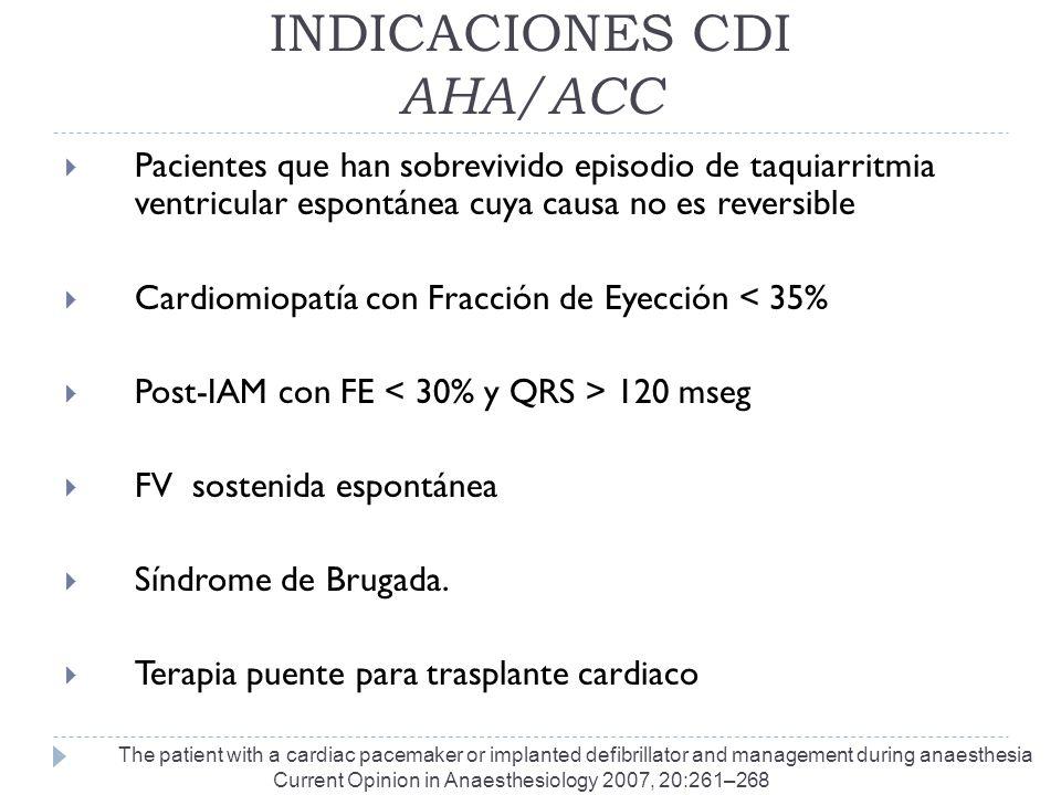 INDICACIONES CDI AHA/ACC Pacientes que han sobrevivido episodio de taquiarritmia ventricular espontánea cuya causa no es reversible Cardiomiopatía con